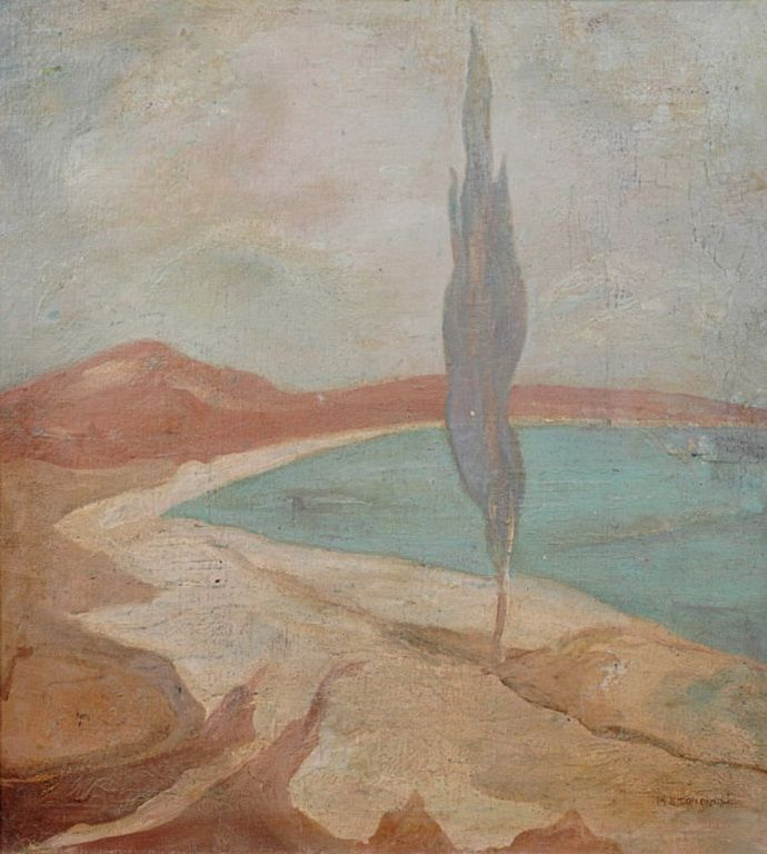 .:. Οικονόμου Μιχαήλ – Michail Oikonomou [1888-1933] Θαλασσινό τοπίο με κυπαρίσι