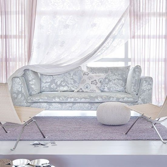 Lilac living room with damask sofa | Modern living room ideas | Living room | PHOTO GALLERY | Livingetc | Housetohome.co.uk