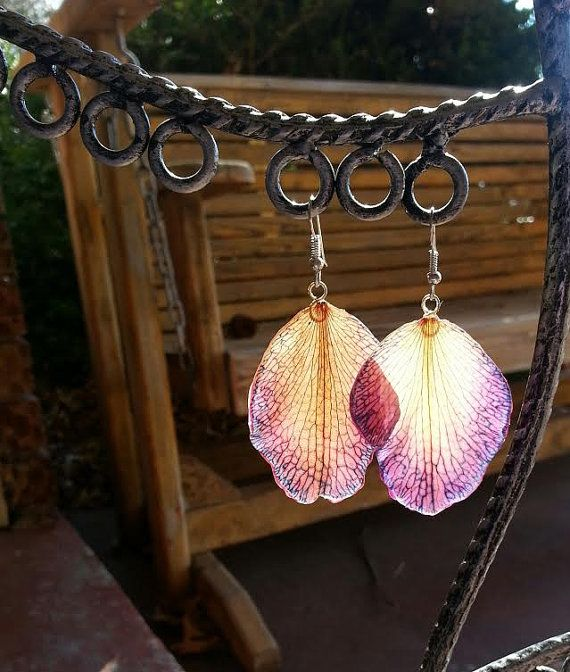 how to make real flower petal earrings