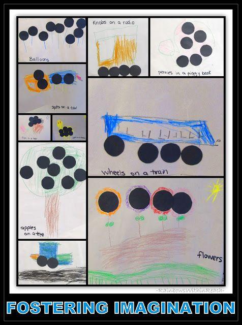 "10 Black Dots pics  Each kid gets one. Cut out dots, make a picture. Teacher writes ""___ sees ___. It has # black dots."""