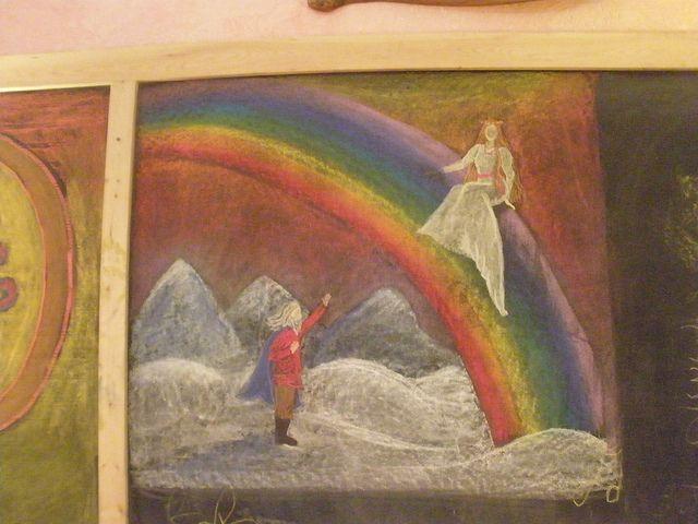 Waldorf ~ 4th grade ~ Norse Mythology ~ Wannamoinen ~ chalkboard drawing
