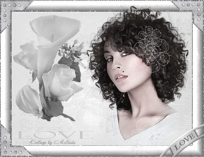 Картинка gif Девушки Красотка и белые цветы