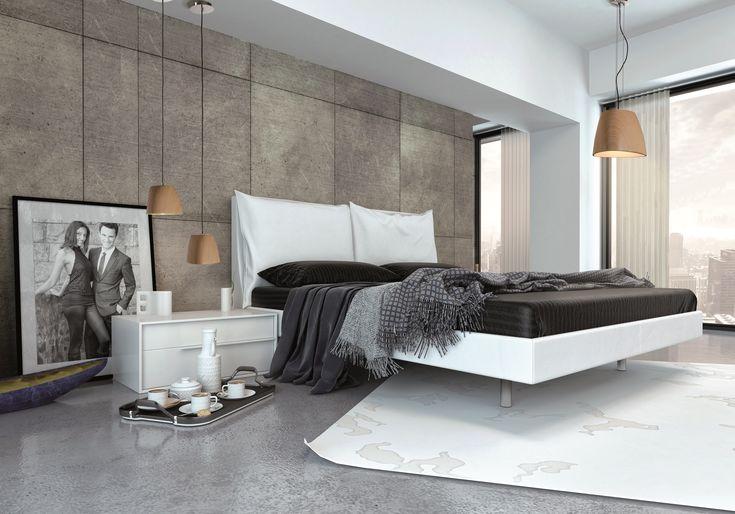 Nowoczesna sypialnia w lofcie lub nowym apartamentowcu. Sprawdźcie lampę wiszącą Zuma Line Triangle.
