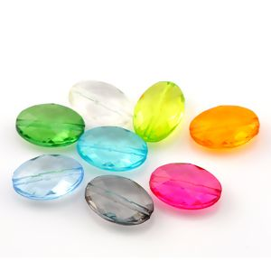 """Image of 100PCs At Random Faceted Oval Acrylic Spacer Beads 19x13mm68""""x48"""""""