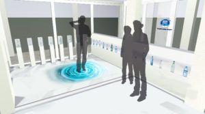 """Gemäß dem Slogan """"Nestle Waters, the healthy hydration Company"""" beruht das Konzept auf eine Stimulierung der Sinne. Durch eine reduziert, klare Formensprache der Inneneinrichtung spiegelt das Konzept die Reinheit u. Frische einer Wasserquelle.  Dies wird durch eine interaktive Projektion auf den Fußboden, welche auf Berührung reagiert, versinnbildlicht und ist akustisch untermalt.  Nachdem die Sinne """"Sehen und Hören"""" des Gasts jetzt aufgeweckt wurden, fehlt nur noch der Geschmackssinn..."""