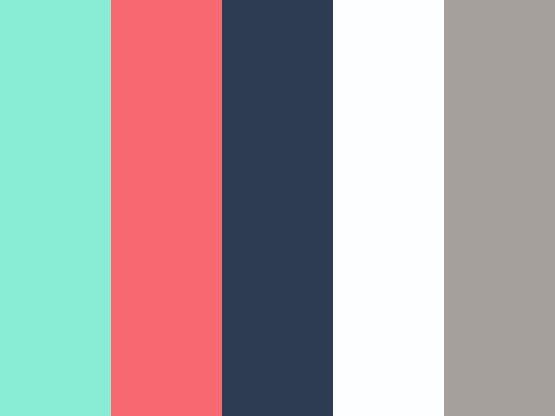 Aqua, coral, navy, white, grey spring palette