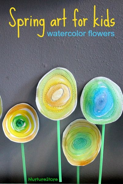 Love this! Beautiful spring art for kids: try this watercolor flowers technique