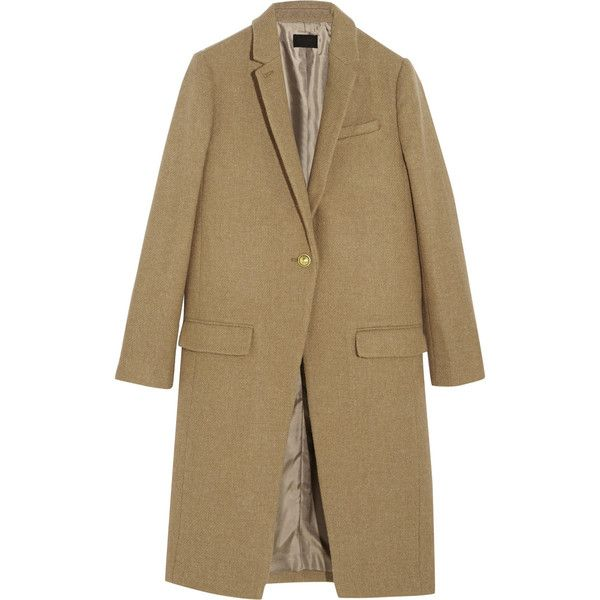 J.Crew Collection Harris Tweed wool coat ($765) found on Polyvore featuring outerwear, coats, jackets, coats & jackets, brown tweed coat, j.crew, woolen coat, camel wool coat and brown wool coat