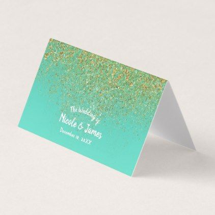 Cascading Gold Glitter Teal Aqua Party Table Seat Place Card - party gifts gift ideas diy customize