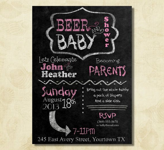 Pink BEER and baby shower, couple, dad baby shower invitation, chalkboard invitation, printable, digital file on Etsy, $12.50