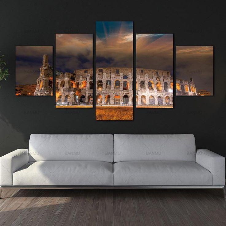 Wandkunst Leinwand Gemälde Römischen Kolosseum 5 Panels Wanddekorationen für Home Office Kunstwerk Giclee Wandkunstwerk Wohnkultur. Preis von gestern: 36,00 USD (31,85 EUR). Der heutige Preis (16. Januar 2019): 21,96 USD (19,40 EUR). Rabatt: 39%. #Home #Dekor #Malerei #Kunst