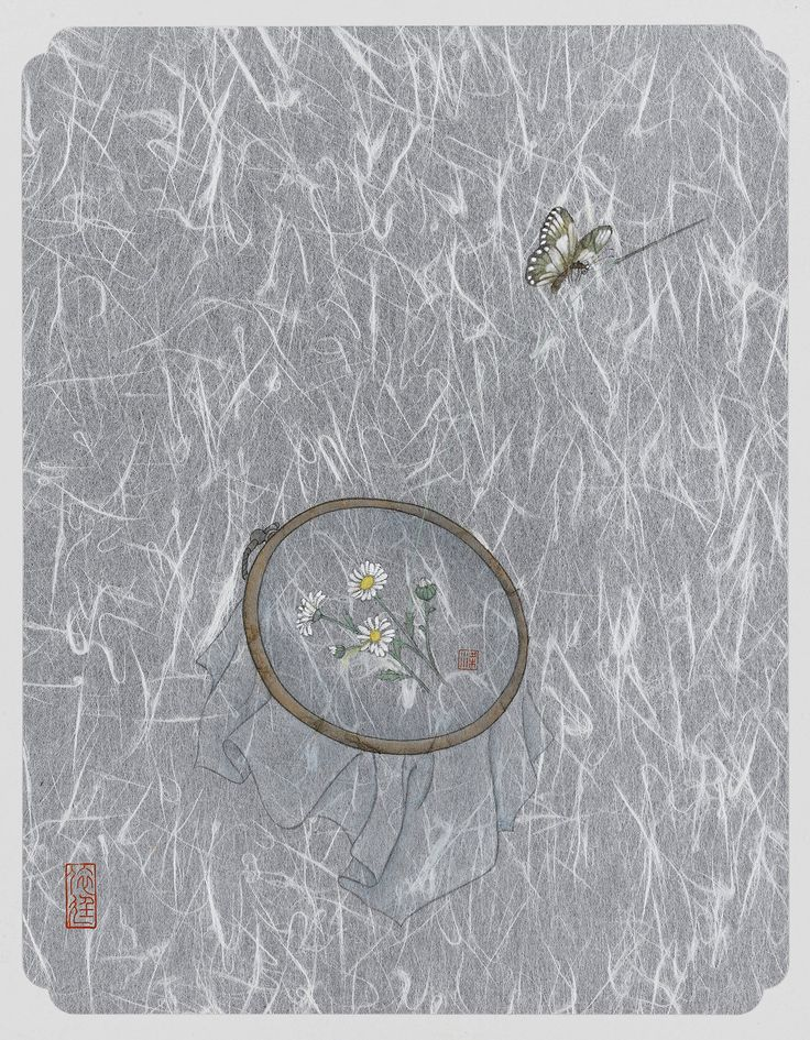 Eve Leung, Daisy 1, 2015, Ink and colour on cardboard, 40x50cm each, Reverie   Artify Gallery