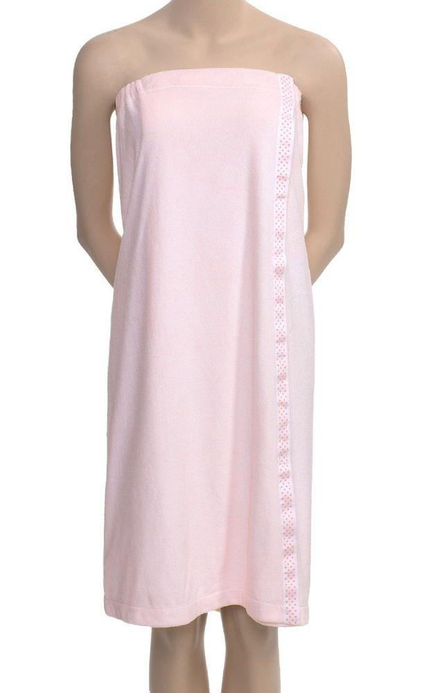 + Pink Polka Dot Trim Plus Size So Soft Shower Wrap Client Spa Robe Bath Towel