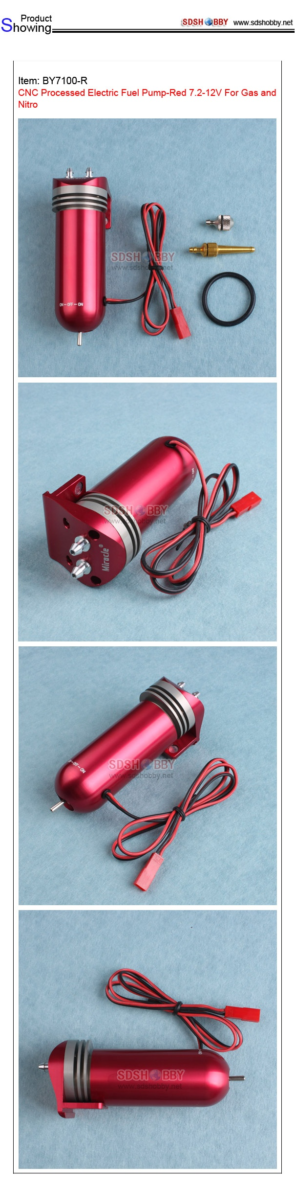 CNC Processed Electric Fuel Pump-Red 7.2-12V For Gas and Nitro