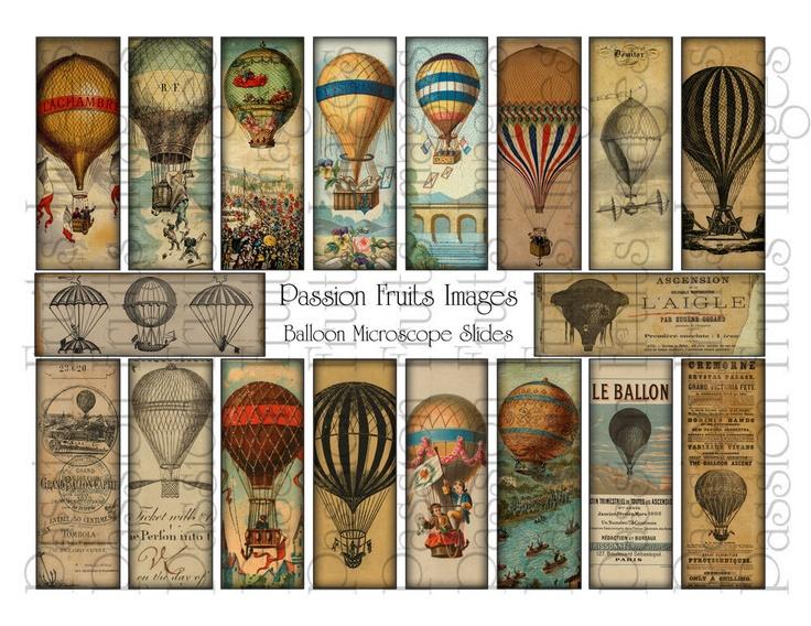 Hot Air Balloons Microscope Slide Digital Collage Sheet. $3.25, via Etsy.
