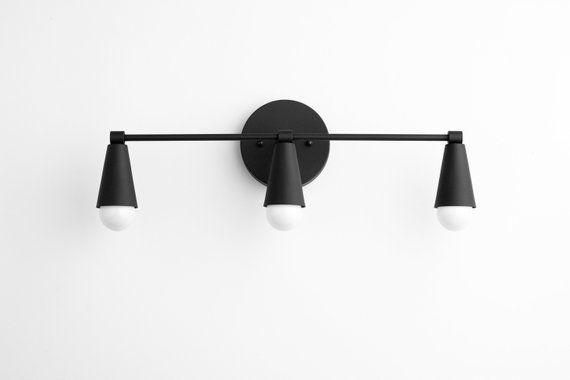 Three Bulb Vanity Light Bathroom, Modern Bathroom Light Fixtures Black And White