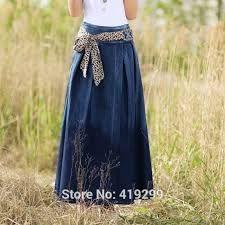 Resultado de imagen para faldas largas de mezclilla
