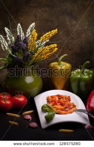 #Traditional #Italian #Recipes - #StillLife #Pasta with #bellpeppers made with #penne and #peppers #sauce. -  #stockphoto #Shutterstock