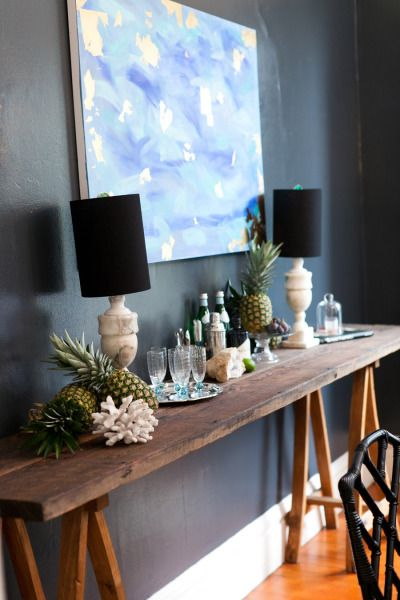 Rustic plank side board table | Style Me Pretty | GALLERY & INSPIRATION | dining room