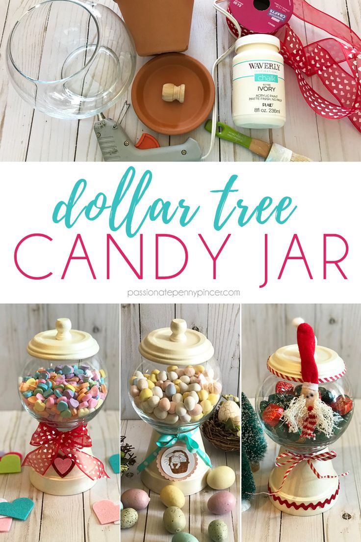 DIY Dollar Tree Candy Jar Dollar tree crafts, Candy jars