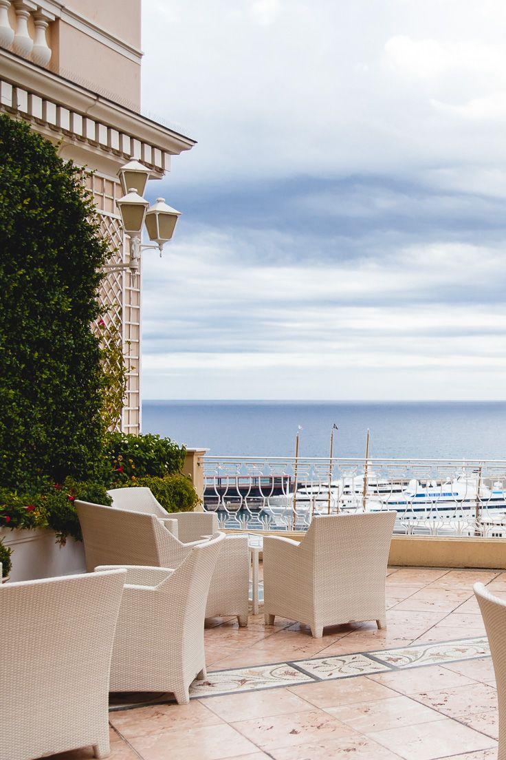 Stunning view from Crystal terrace, Hermitage Hotel, Monte Carlo, Monaco. The perfect place for a relaxed drink (you can click through to the blog post for more photos) Europe Travel Tips