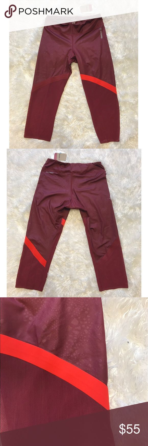 NWT Reebok Mesh Merlot Capris NWT Reebok mesh studio workout capris in merlot. Made with speed wick material for fast drying. The lower half of the leg is a semi see through mesh material. Bright stripe on left leg! Be the most stylish one at the gym! ❤️ Reebok Pants Leggings