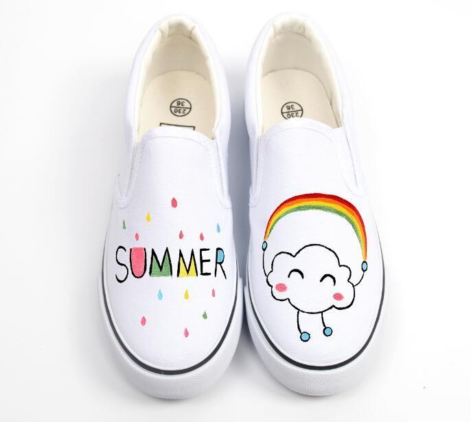 Обертывание для ног женская обувь холст персонализированные ручной росписью обувь с низким граффити обувь удобная корова мышцы купить на AliExpress