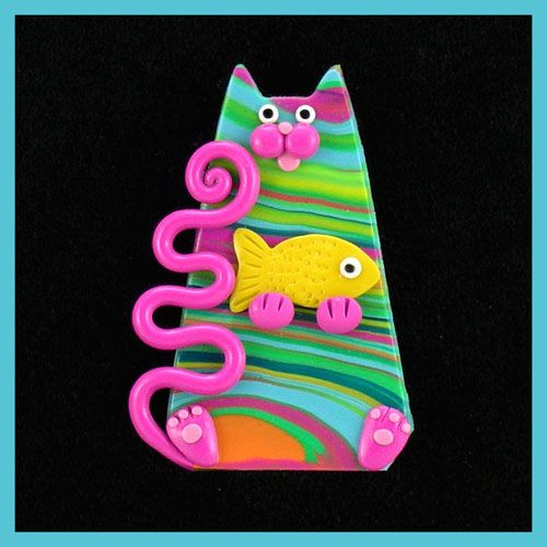 Pink Turquoise Green Kitty Cat & Fish | Flickr - Photo Sharing!