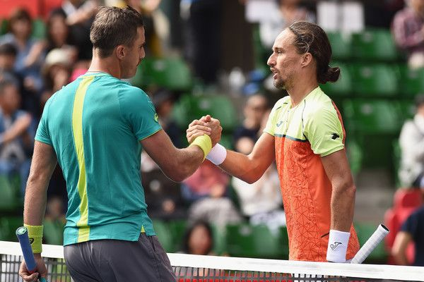 (L-R) Steve Johnson of the USA and Alexandr Dolgopolov of Ukraine shake hands after their match during day four of the Rakuten Open at Ariake Coliseum on October 5, 2017 in Tokyo, Japan.