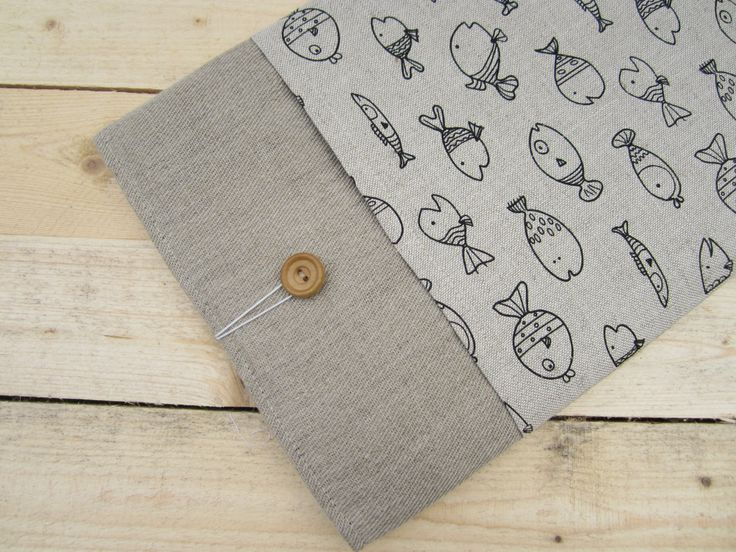 Linen fishes MacBook Air/Pro 13 sleeve with pockets, MacBook Pro 13 sleeve, Mac Pro 13 case, MacBook Pro 13 Retina sleeve, MacBook Air 11 by CasesLab on Etsy