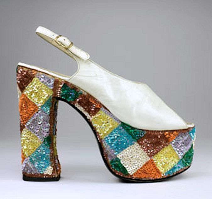 1970s sling-back sandals by Casuccio and Scalera for Loris Azzaro: White leather uppers and sequined platforms, via Bata Shoe Museum.