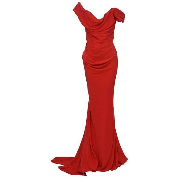 Preowned Vivienne Westwood Cocotte Red Gold Label Dress Us 4  Seen On... ($1,395) ❤ liked on Polyvore featuring women's fashion, dresses, gown, red, red corset dress, stretch dress, stretchy dresses, rose gold dress and corset dress