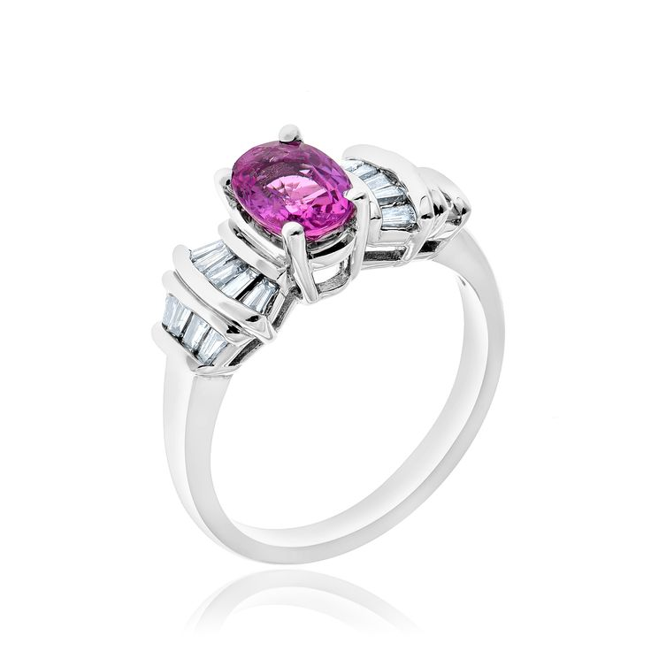 14kt white gold pink sapphire and diamond ring.