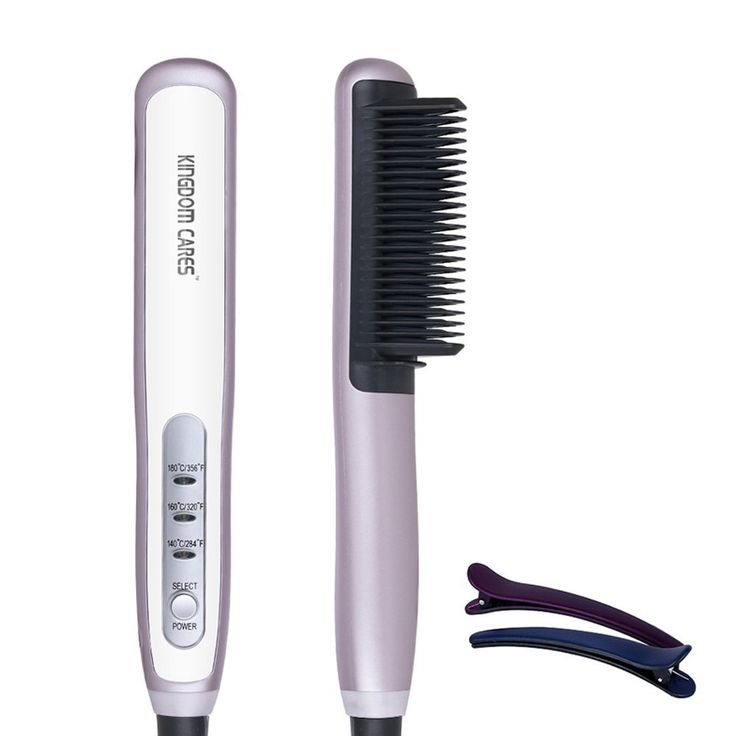 KINGDOMCARES Salon Fast Natural Straight Hair Straightener Brush Fastest Heating Detangling Styling PTC Hair Straightening Brush 3 Levels Anti-Scald Comb Anti-Static Ceramic Hair Straighteners Purple *** Hurry! Check out this great product : Travel Hair care