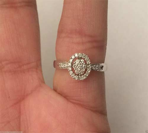 10kt White Gold Halo Flower Style Round Diamonds Engagement Bridal Promise Ring Band by RG&D