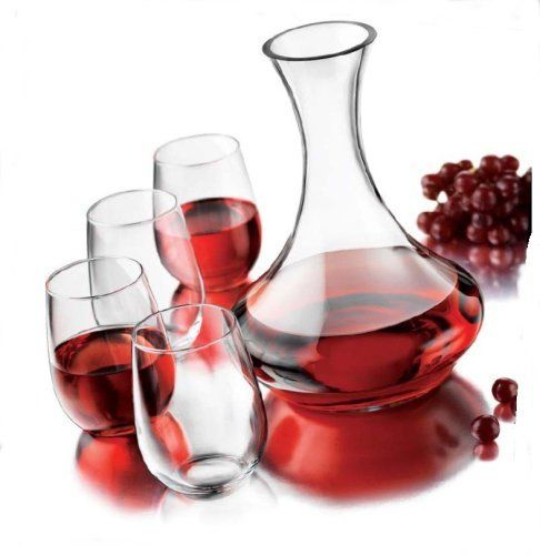 Libbey 5-Piece Stemless Wine Set by Libbey. $42.01. Glasses have 17 ounce capacity. Glasses dishwasher safe. Handwash decanter. Glasses can also be used for other drinks, desserts and ice cream. Glasses made in USA, decanter made in china. The Stemless Wine set contains 4 stemless wine glasses that have a capacity of 17 ounces and 1 60 ounce decanter.  The glasses are dishwasher safe and made in the USA.