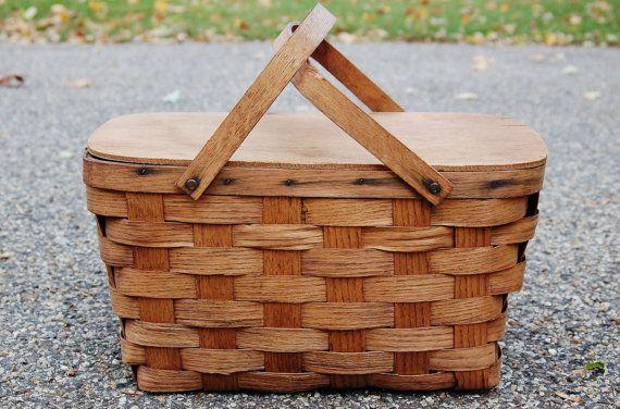 Wood Picnic Basket Vintage Picnic Basket by CobblestonesVintage, $34.00