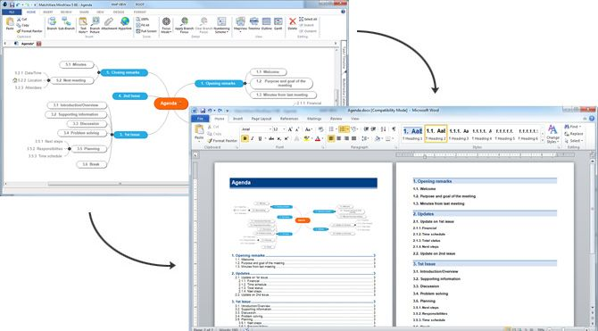 Mind Mapping Software as a Productivity Tool - Export your mind map to Word, PowerPoint, Excel, Outlook, Project - Import Word, PowerPoint, Excel, Outlook, Project and convert to a mind map - Professional templates and styles available - Apply numbers and calculations to your mind map and transfer to Excel