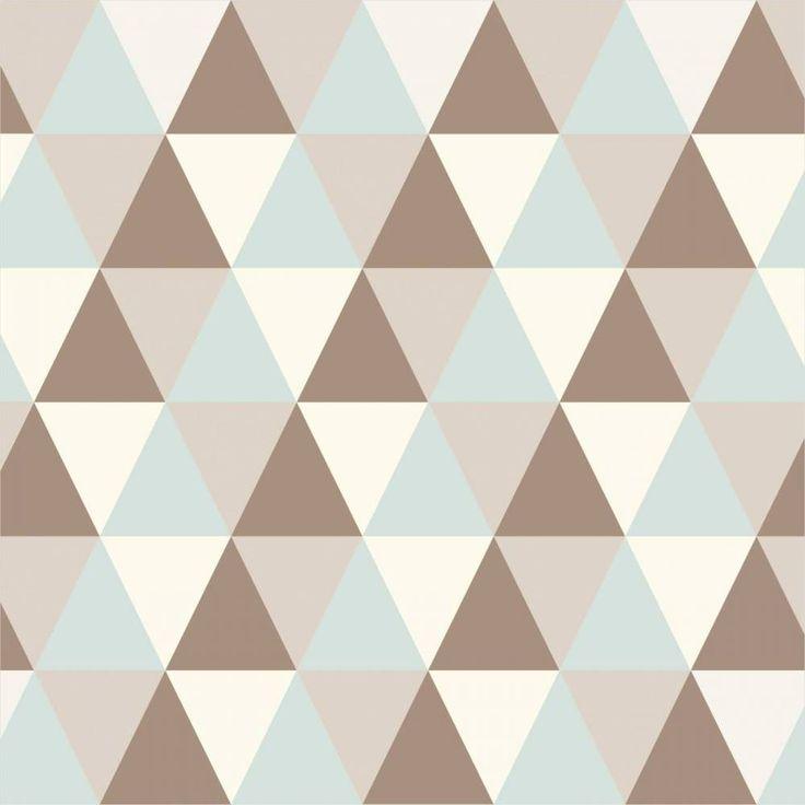 Papel de parede geométrico verde, marrom e bege - PA7869