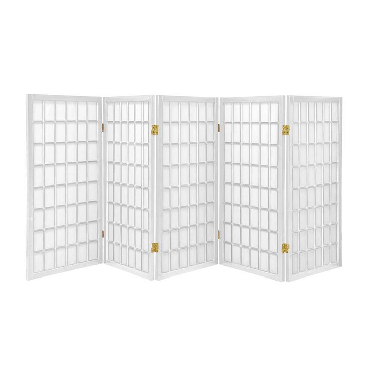 Shop Oriental Furniture 5 Panel White Folding Indoor Privacy Screen At  Lowes.com