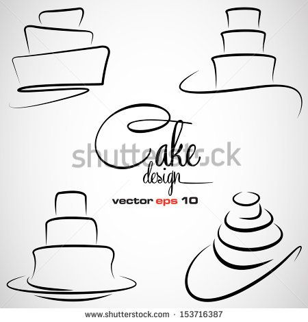 Cake Design symbol set in vector format - stock vector