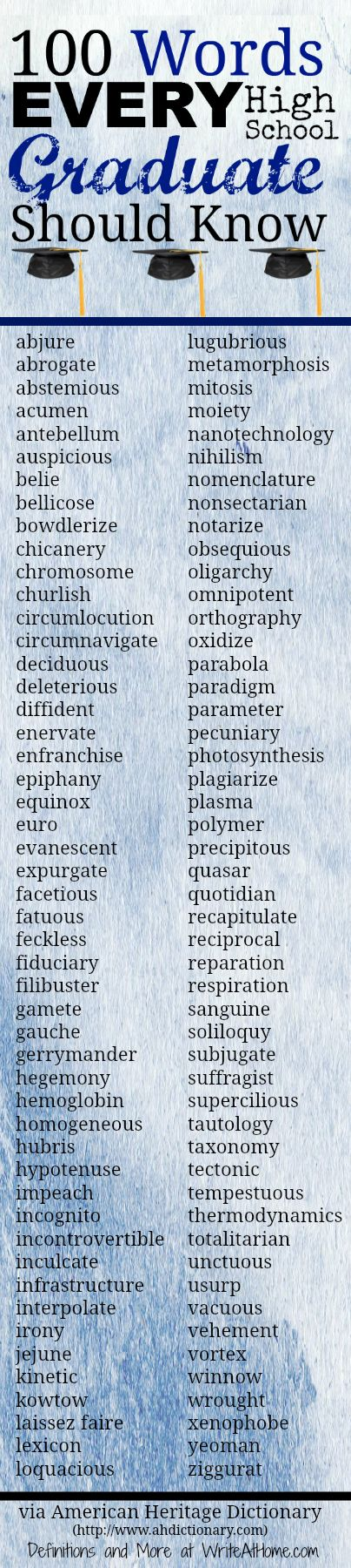 100 Words Every High School Graduate Should Know via American Heritage Dictionary