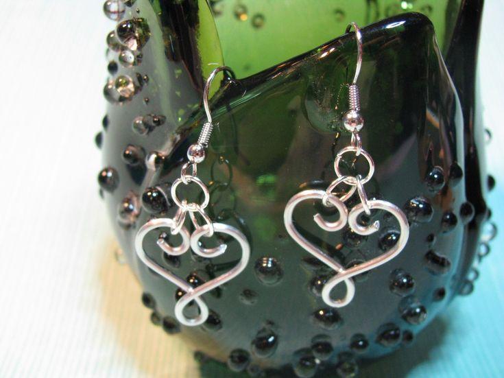 Wire-Wrapped Heart Earrings