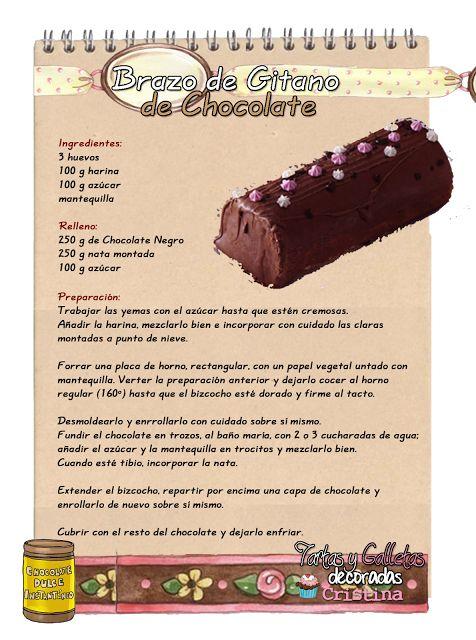 Tartas, Galletas Decoradas y Cupcakes: Brazo de Gitano de Chocolate