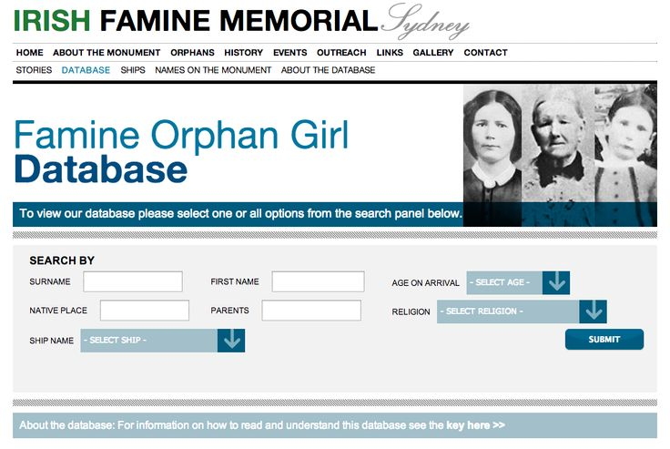 Irish famine database. Much of the material in the database, particularly for those who landed in NSW, is provided by the Board of Immigration in State Records of New South Wales [SRNSW] and appears on the 'shipping lists'. This includes name, age, native place, parents' names and whether alive and where living, orphan's religion, whether they had relatives in the colony and if they had any complaints about the voyage.