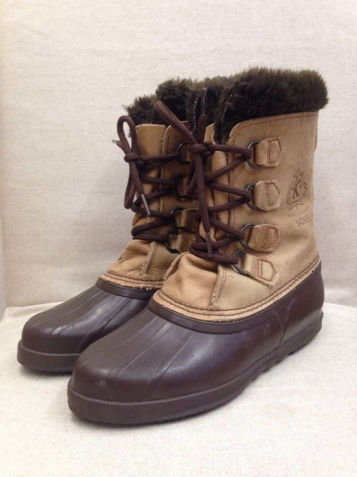 Womens Sorel Alpine Wool Felt Lined Leather Rubber Waterproof Winter Boot Sz 8 Sorel