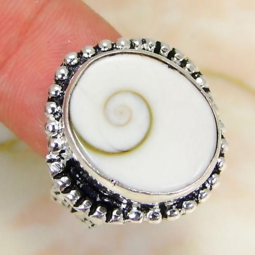 EVA RING mother of pearl gemstone 925 sterling silver vintage jewelry gift vtg