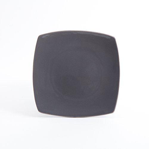 nice Gibson Home 16 Piece Soho Lounge Soft Square Dinnerware Set with Reactive Glaze Stoneware, Grey
