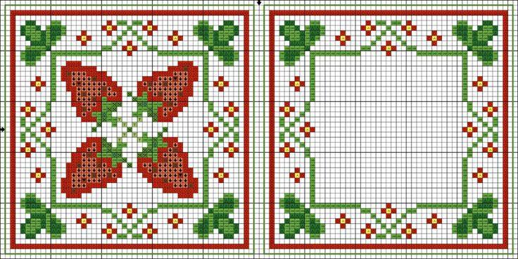 клубничная (уменьшенная) (700x350, 261Kb). Strawberry biscornu. Free sewing pattern graph.