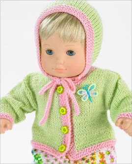 """Free knitting for 15"""" doll cardigan and accessories (followed by crochet version!)*"""